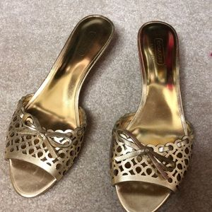 Coach kitten heel gold sandals
